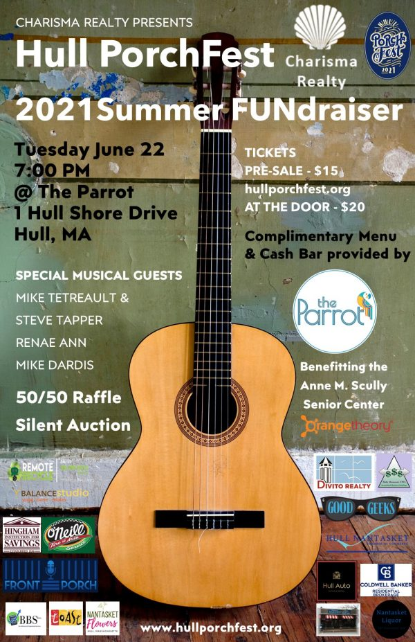 june 22 hull porchfest fundraiser at the parrot flyer featuring logos from charismas realty and a wooden guitar as the background image.